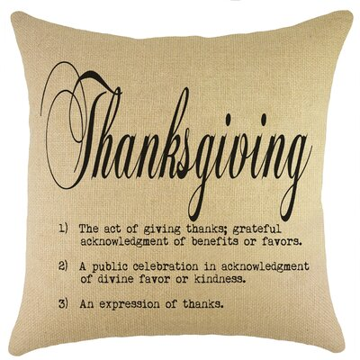 Thanksgiving Burlap Throw Pillow Color: Black