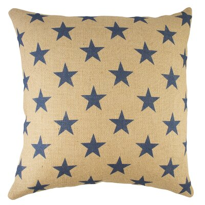 Stars Burlap Throw Pillow Color: Blue