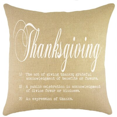 Thanksgiving Burlap Throw Pillow Color: White