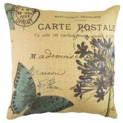 Butterfly Postcard Burlap Throw Pillow