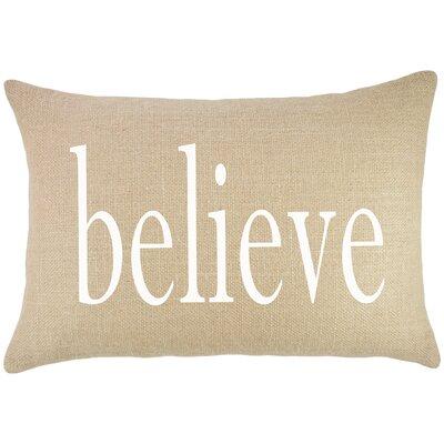 Believe Burlap Lumbar Pillow