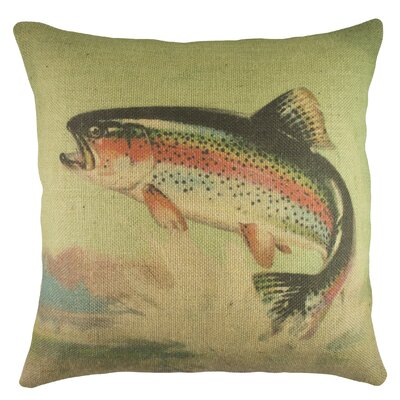 Rainbow Trout Burlap Throw Pillow