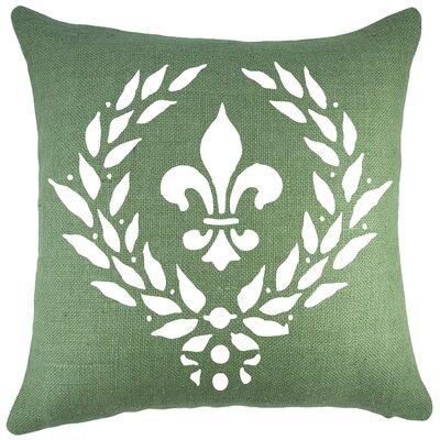Crest Burlap Throw Pillow Color: White / Green