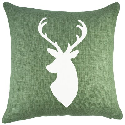 Deer Burlap Throw Pillow Color: Green
