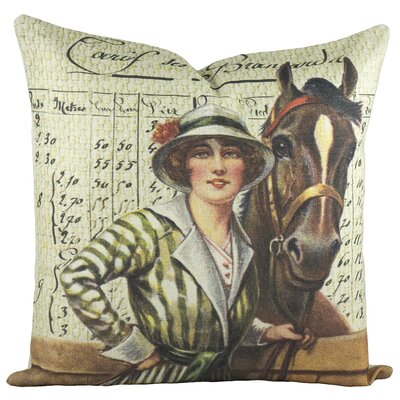 Horse Derby Cotton Throw Pillow
