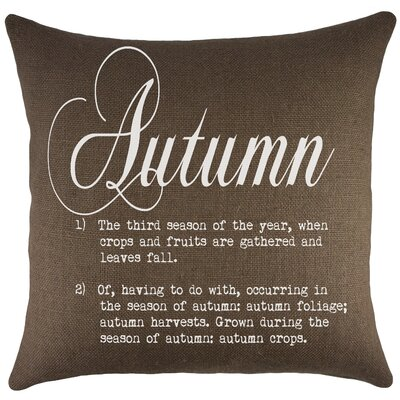 Autumn Burlap Throw Pillow Color: Brown
