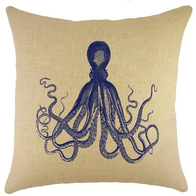 Octopus Burlap Throw Pillow Color: Navy