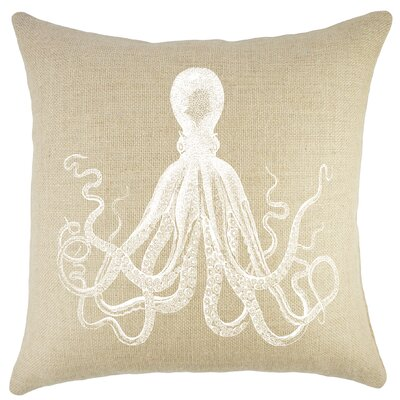 Octopus Burlap Throw Pillow Color: Natural