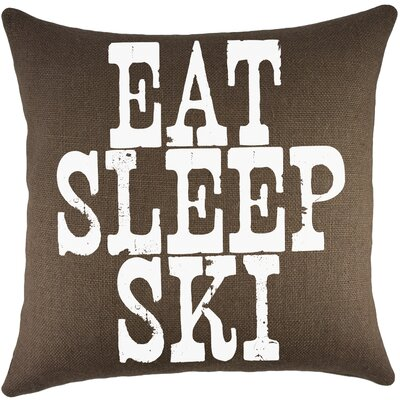 Eat Sleep Ski Burlap Throw Pillow