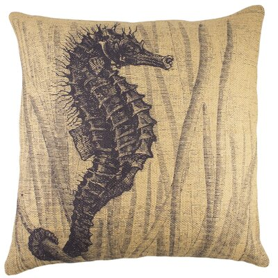 Seahorse Burlap Throw Pillow