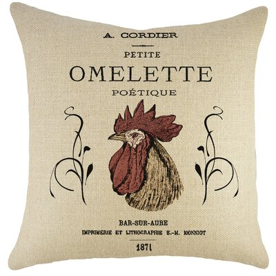 Omelette Burlap Throw Pillow
