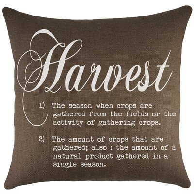 Harvest Burlap Throw Pillow Color: Brown