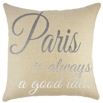 Paris Burlap Throw Pillow Color: Silver