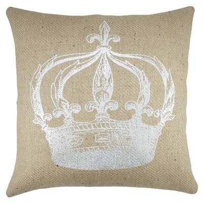 Crown Burlap Throw Pillow
