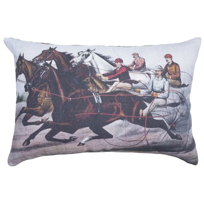 Horse Race Cotton Throw Pillow