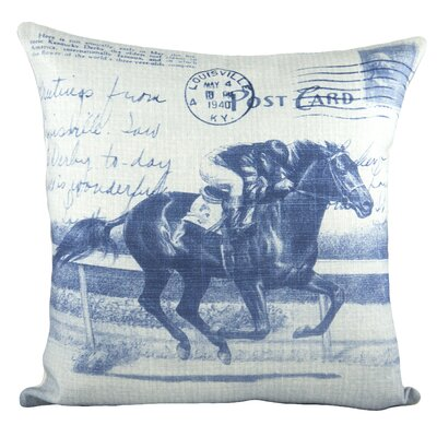 Horse Race Cotton Throw Pillow Color: Blue