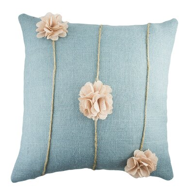 Floral Burlap Throw Pillow Color: Blue