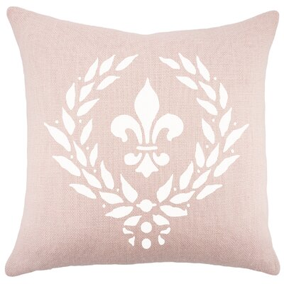 Crest Burlap Throw Pillow Color: White / Pink