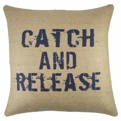 Catch and Release Burlap Throw Pillow