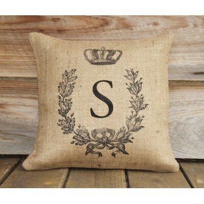 Monogram Personalized Burlap Throw Pillow Size: 18 H x 18 W x 6 D