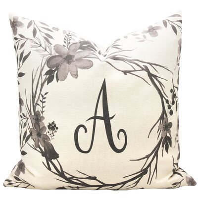 Monogram Floral Cotton Throw Pillow Size: 22