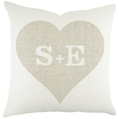 Monogram Heart Cotton Throw Pillow Size: 18 H x 18 W x 6 D