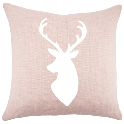 Deer Burlap Throw Pillow Color: Pink