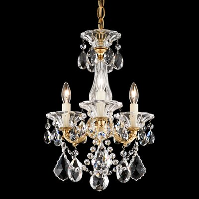 La Scala 3-Light Crystal Chandelier Finish / Crystal Grade: Etruscan Gold / Handcut Clear