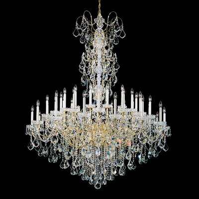 New Orleans 45-Light Candle-Style Chandelier Finish: Heirloom Gold, Crystal Type: Golden Teak Crystals From Swarovski