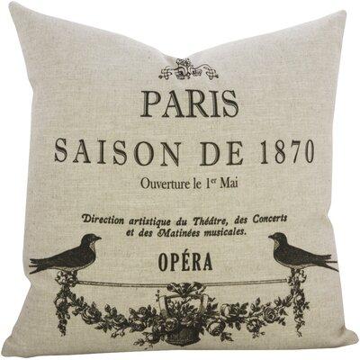 Paris Birds Linen Throw Pillow