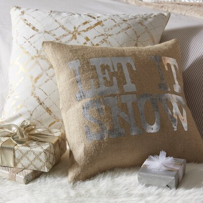 Let It Snow Burlap Throw Pillow Color: Silver