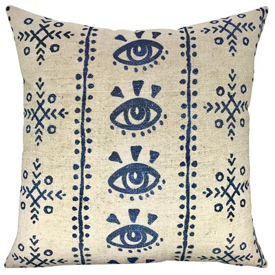 Mud Cloth Shibori Throw Pillow Color: Blue/Beige