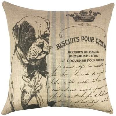 Dog Grainsack Burlap Throw Pillow