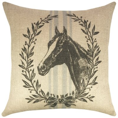 Horse Grain Sack Burlap Throw Pillow