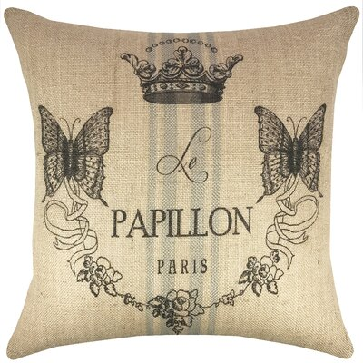 Butterfly French Burlap Throw Pillow