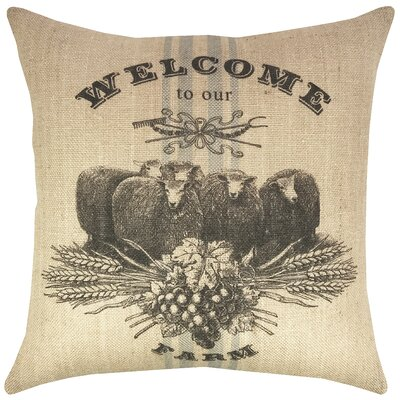 Sheep Farm Burlap Throw Pillow