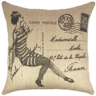 Vintage Swimsuit Burlap Throw Pillow