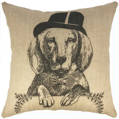 Dog Burlap Throw Pillow