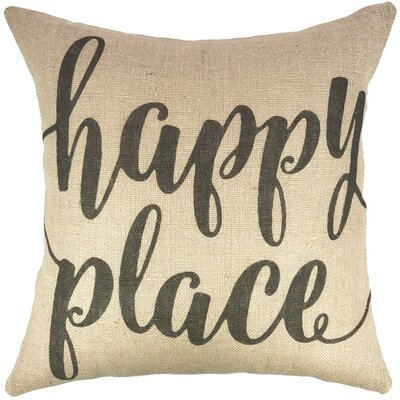 Happy Place Burlap Throw Pillow