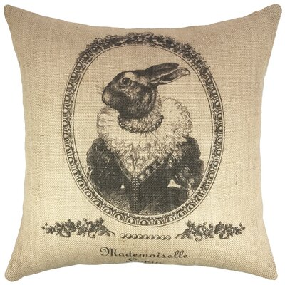 Vintage Bunny Burlap Throw Pillow