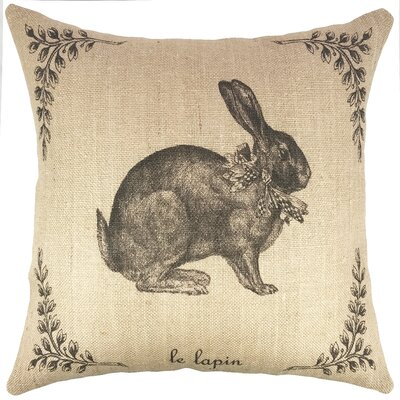 French Hare Burlap Throw Pillow