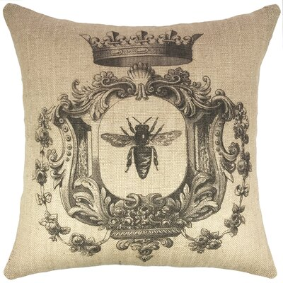 French Bee Burlap Throw Pillow