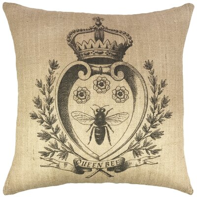 Bee with Crown Burlap Throw Pillow