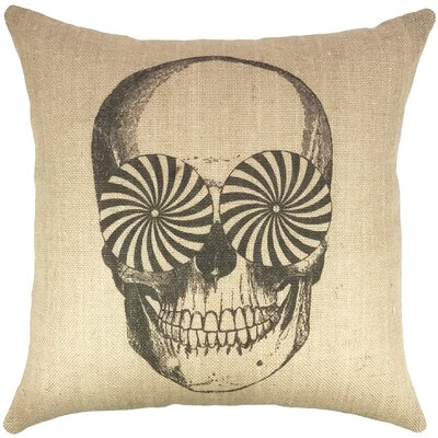 Skull Burlap Throw Pillow