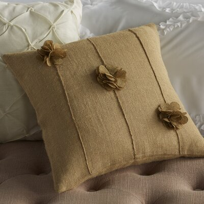 Floral Burlap Throw Pillow Color: Beige