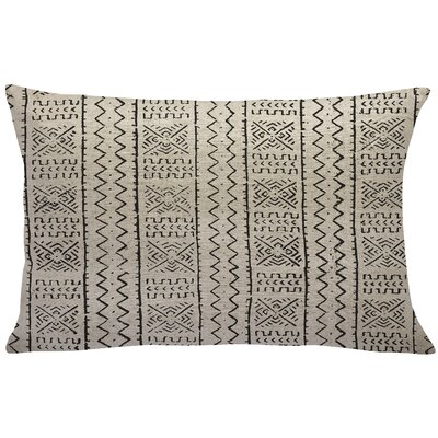 Abdinour Mud Cloth Linen Lumbar Pillow Color: Black