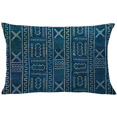 Mollica Mud Cloth Linen Lumbar Pillow Color: Blue