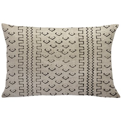 Burkhardt Mud Cloth Linen Lumbar Pillow Color: Black