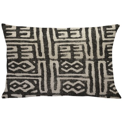 Cao Mud Cloth Linen Lumbar Pillow Color: Black