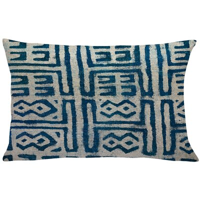 Cao Mud Cloth Linen Lumbar Pillow Color: Blue